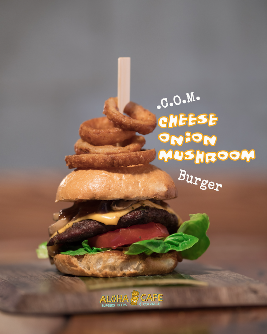 Cheese Onion Mushroom burger
